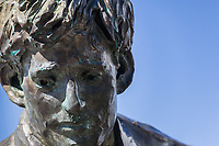 A close-up detail of the Jack London Monument at Jack London Square on the Oakland waterfront.  The statue is the creation of scultor Cedric Wentworth, a San Francisco native.