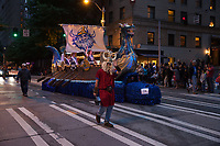 Viking Ship Float, Seafair Torchlight Parade 2015, Seattle, Washington State, WA, America, USA.