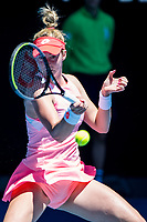 10th February 2021, Melbourne, Victoria, Australia; Nina Stojanovic of Serbia returns the ball during round 2 of the 2021 Australian Open on February 10 2020, at Melbourne Park in Melbourne, Australia.