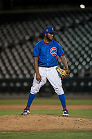AZL Cubs 2 relief pitcher Andry Rondon (99) looks in for the sign during an Arizona League game against the AZL Rangers at Sloan Park on July 7, 2018 in Mesa, Arizona. AZL Rangers defeated AZL Cubs 2 11-2. (Zachary Lucy/Four Seam Images)