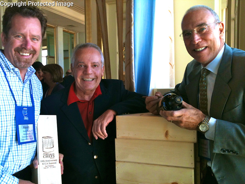 Kevin Ryan; Executive Director of<br /> International Corporate Chefs Association, Artist Guy Buffet and Co-founder of Robert Mondavi Winery; Michael Mondavi, in San Francisco at the 10th Anniversary of ICCA 2012