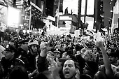 """New York, New York<br /> October 15, 2011<br /> <br /> As anger toward financial institutions spread around the world """"Occupy Wall Street"""" took their protest to New  York City's Times Square as the movement went global with demonstrations in major cities around the world. <br /> <br /> The protest, that began on September 17, is primarily  protesting against social and economic inequality, corporate greed, and the influence of corporate money and lobbyists on government, among other concerns."""