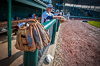 29 May 2021: A worn Vermont Lake Monsters glove rests on the dugout fence prior to a game against the Norwich Sea Unicorns at Centennial Field in Burlington, Vermont. The Lake Monsters defeated the Unicorns 6-3 in their FCBL Home Opener, the first home game played at Centennial Field post-Covid-19 pandemic. Mandatory Credit: Ed Wolfstein Photo *** RAW (NEF) Image File Available ***