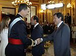 Coronation ceremony in Madrid. King Felipe VI of Spain greets Spanish regional representatives at Congreso de los Diputados. June 19 ,2014. (ALTERPHOTOS/EFE/Pool)