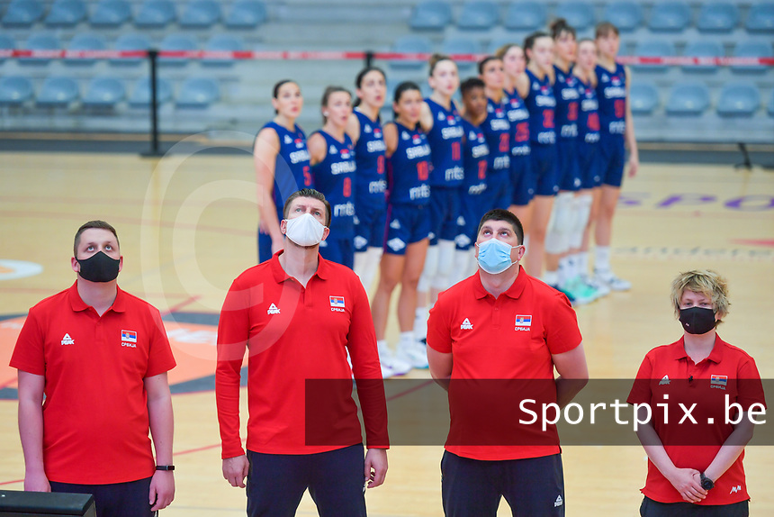 staff members team Serbia pictured during a basketball game between the national teams of Puerto Rico and Serbia on Sunday 30 th of May 2021 in Kortrijk , Belgium . PHOTO SPORTPIX.BE   SPP   STIJN AUDOOREN