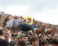 Purdue fans. The Purdue Boilermakers defeated the Ohio State Buckeyes 26-18 at Ross-Ade Stadium, West Lafayette, Indiana on October 17, 2009..