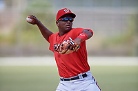 Washington Nationals Kelvin Gutierrez (11) throws to first base during practice before a minor league Spring Training game against the St. Louis Cardinals on March 27, 2017 at the Roger Dean Stadium Complex in Jupiter, Florida.  (Mike Janes/Four Seam Images)