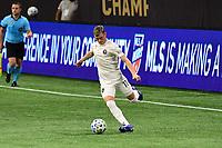 ATLANTA, GA - SEPTEMBER 02: Matias Pellegrini #11 of Inter Miami CF passes the ball during a game between Inter Miami CF and Atlanta United FC at Mercedes-Benz Stadium on September 02, 2020 in Atlanta, Georgia.
