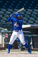 Kansas City Royals third baseman Dennicher Carrasco (51) at bat during an Instructional League game against the Cincinnati Reds on October 2, 2017 at Surprise Stadium in Surprise, Arizona. (Zachary Lucy/Four Seam Images)