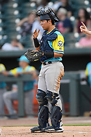Catcher Anthony Seigler (22) of the Charleston RiverDogs, playing as the Perros Santos de Charleston, signals to infielders in a game against the Columbia Fireflies on Friday, July 12, 2019 at Segra Park in Columbia, South Carolina. The RiverDogs won, 4-3, in 10 innings. (Tom Priddy/Four Seam Images)