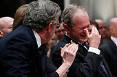 Former President George W. Bush with his brother Jeb Bush and Laura Bush at the State Funeral for their father, former President George H.W. Bush, at the National Cathedral, Wednesday, Dec. 5, 2018, in Washington.<br /> Credit: Alex Brandon / Pool via CNP