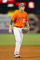 Miami Hurricanes third baseman Brad Fieger #27 on defense against the Wake Forest Demon Deacons at NewBridge Bank Park on May 25, 2012 in Winston-Salem, North Carolina.  The Hurricanes defeated the Demon Deacons 6-3.  (Brian Westerholt/Four Seam Images)