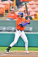 Clemson Tigers shortstop Logan Davidson (8) awaits a pitch during a game against the North Carolina Tar Heels at Doug Kingsmore Stadium on March 9, 2019 in Clemson, South Carolina. The Tigers defeated the Tar Heels 3-2 in game one of a double header. (Tony Farlow/Four Seam Images)