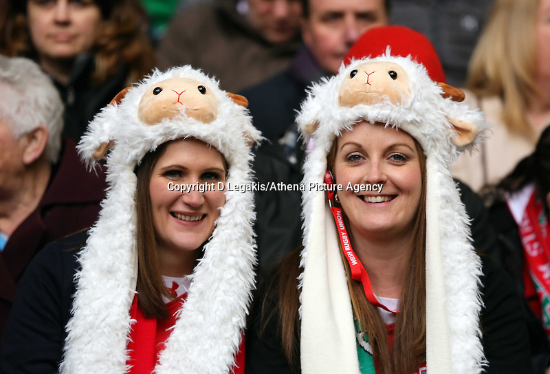 Pictured: Female welsh supporters  Saturday 14 March 2015<br /> Re: RBS Six Nations, Wales v Ireland at the Millennium Stadium, Cardiff, south Wales, UK.