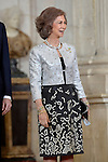 Queen Sofia receives International Olympic Committee Evaluation Commission Team for a dinner at the Royal Palace.March 20,2013. (ALTERPHOTOS/Pool)