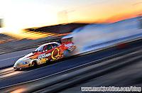 Jan 29, 2008; Chandler, AZ, USA; NHRA funny car driver Tony Pedregon does a burnout during testing at the National Time Trials at Firebird International Raceway. Mandatory Credit: Mark J. Rebilas-US PRESSWIRE
