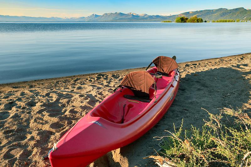 Kayak boat on shores of Lake Tahoe. California