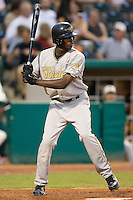 West Virginia Power right fielder Lorenzo Cain stands in at the plate versus the Greensboro Grasshoppers at First Horizon Park in Greensboro, NC, Wednesday, August 23, 2006.