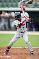 Michael De Leon (1) of the Hickory Crawdads at bat against the Kannapolis Intimidators at CMC-Northeast Stadium on April 17, 2015 in Kannapolis, North Carolina.  The Crawdads defeated the Intimidators 9-5 in game one of a double-header.  (Brian Westerholt/Four Seam Images)