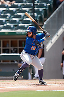 Esteban Quiroz (13) of the Durham Bulls at bat against the Charlotte Knights at Truist Field on August 28, 2021 in Charlotte, North Carolina. (Brian Westerholt/Four Seam Images)