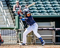 6 June 2021: New Hampshire Fisher Cats infielder Austin Martin at bat in the bottom of the first inning against the Binghamton Rumble Ponies at Northeast Delta Dental Stadium in Manchester, NH. The Rumble Ponies defeated the Fisher Cats 9-6 to close out their 6-game series. Mandatory Credit: Ed Wolfstein Photo *** RAW (NEF) Image File Available ***