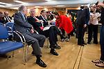 Politic Josep Borrel (L) and politic José Manuel García-Margallo (R) involved in the presentation of the report on the State of the European Union in Madrid. June 02. 2016. (ALTERPHOTOS/Borja B.Hojas)