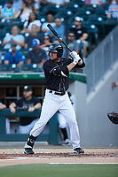 Blake Rutherford (6) of the Charlotte Knights at bat against the Gwinnett Stripers at Truist Field on July 15, 2021 in Charlotte, North Carolina. (Brian Westerholt/Four Seam Images)