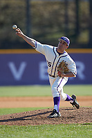 High Point Panthers relief pitcher Joe Johnson (15) delivers a pitch to the plate against the NJIT Highlanders at Williard Stadium on February 19, 2017 in High Point, North Carolina. The Panthers defeated the Highlanders 6-5. (Brian Westerholt/Four Seam Images)