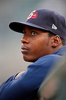 June 3, 2009:  Brandon Jones of the Gwinnett Braves in the dugout during a game at Frontier Field in Rochester, NY.  The Gwinnett Braves are the International League Triple-A affiliate of the Atlanta Braves.  Photo by:  Mike Janes/Four Seam Images