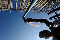 LAOS province Oudomxay , village Houyta, ethnic group Khmu, project for water supply and sanitation, every household gets a water tap and has to pay their own water use according a water metre to the village community / LAOS Provinz Oudomxay Dorf Houyta , Ethnie Khmu , Projekt Wasserversorgung fuer Bergdoerfer, jeder Haushalt erhaelt einen eigenen Wasserhahn und muss fuer den Wasserverbrauch gemaess Wasseruhr an die Dorfgemeinschaft zahlen