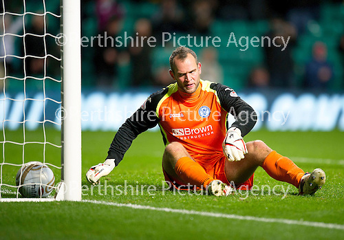 Celtic v St Johnstone...30.10.12      Scottish Communities Cup.An unhappy Alan Mannus as the fifth goal goes in.Picture by Graeme Hart..Copyright Perthshire Picture Agency.Tel: 01738 623350  Mobile: 07990 594431