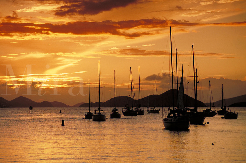 Cruz Bay St John sunset silhouette with sailboats. St John, US Virgin Islands Caribbean.