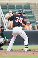 Danny Hayes (32) of the Kannapolis Intimidators at bat against the Greensboro Grasshoppers at CMC-NorthEast Stadium on August 31, 2014 in Kannapolis, North Carolina.  The Grasshoppers defeated the Intimidators 3-1.  (Brian Westerholt/Four Seam Images)