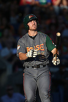 Brian Mundell (16) of the Boise Hawks bats during a game against the Hillsboro Hops at Ron Tonkin Field on August 22, 2015 in Hillsboro, Oregon. Boise defeated Hillsboro, 7-1. (Larry Goren/Four Seam Images)