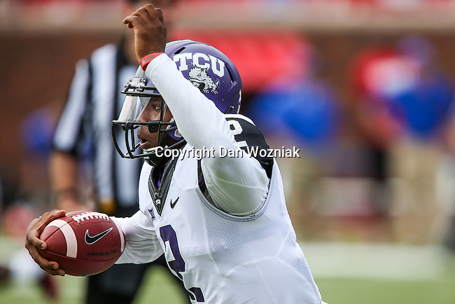 TCU Horned Frogs quarterback Trevone Boykin (2) in action during the game between the TCU Horned Frogs and the SMU Mustangs at the Gerald J. Ford Stadium in Fort Worth, Texas.  TCU leads SMU 28 to 0 at half.