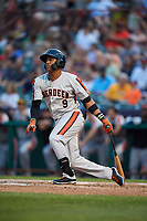 Aberdeen IronBirds first baseman Milton Ramos (9) follows through on a swing during a game against the Tri-City ValleyCats on August 27, 2018 at Joseph L. Bruno Stadium in Troy, New York.  Aberdeen defeated Tri-City 11-5.  (Mike Janes/Four Seam Images)