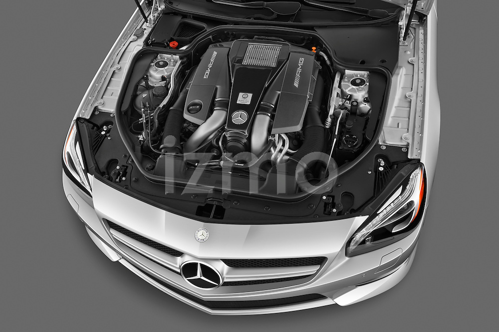 High angle engine detail of a 2013 Mercedes-Benz SL-Class SL63 AMG Convertible