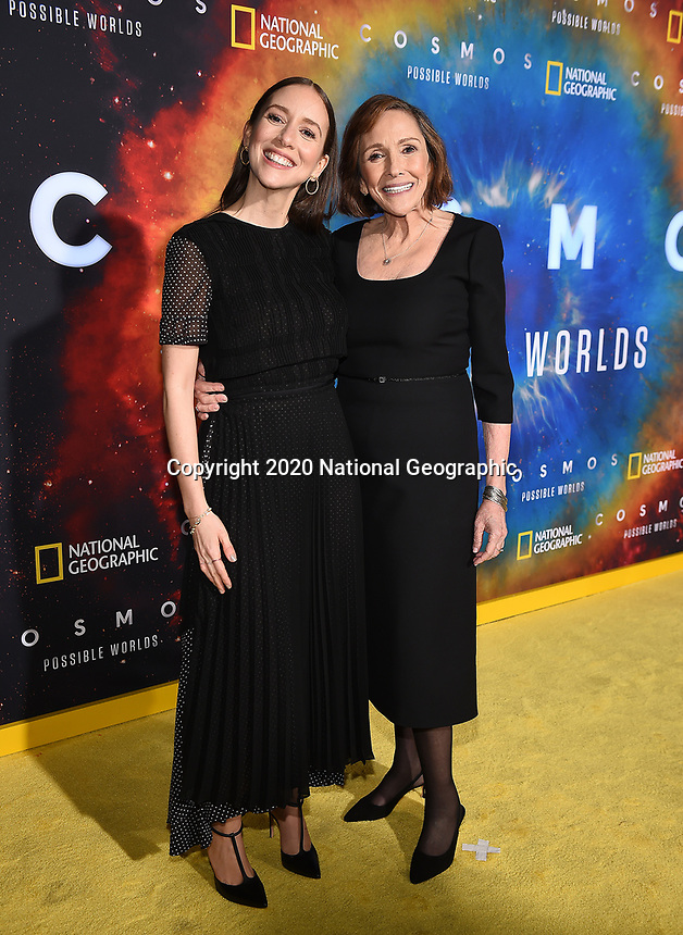 """LOS ANGELES - FEBRUARY 26: Producer Sasha Sagan (L) and writer Ann Druyan attend National Geographic's 2020 Los Angeles premiere of """"Cosmos: Possible Worlds"""" at Royce Hall on February 26, 2020 in Los Angeles, California. Cosmos: Possible Worlds premieres Monday, March 9 at 8/7c on National Geographic. (Photo by Frank Micelotta/National Geographic/PictureGroup)"""