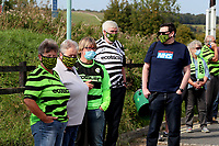 Football fans queue up out side The New Lawn stadium as they take part in a pilot to let fans back in stadiums before the Sky Bet League 2 match between Forest Green Rovers and Bradford City at The New Lawn, Nailsworth, England on 19 September 2020. Photo by Thomas Gadd.