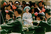 1987 FILE PHOTO - ARCHIVES -<br /> <br /> Outside the McCord Museum the Queen mother watch the black water regiment march past, during her 1987 Maritime Time Tour - Prince Edward Island<br /> <br /> 1987<br /> <br /> PHOTO :  Erin Comb - Toronto Star Archives - AQP