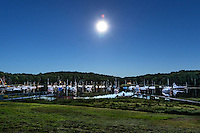 Boats anchored on Arey's Pond, Orleans, Cape Cod, Massachusetts, USA