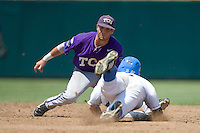 TCU SS Taylor Featherston in Game 13 of the NCAA Division One Men's College World Series on June 26th, 2010 at Johnny Rosenblatt Stadium in Omaha, Nebraska.  (Photo by Andrew Woolley / Four Seam Images)
