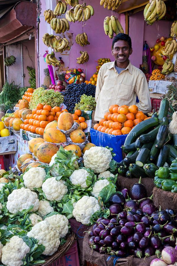 India, Dehradun.  Fruit and Vegetable Vendor in a Streetside Market.
