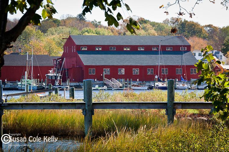 Fall Foliage colors the Mystic River at Mystic Seaport, CT