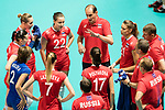 Head coach Ushakov Konstantin (R) of Russia gives instruction for his team during the FIVB Volleyball World Grand Prix match between Japan vs Russia on 23 July 2017 in Hong Kong, China. Photo by Marcio Rodrigo Machado / Power Sport Images