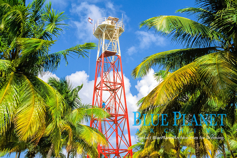 lighthouse, Northern Two Cayes, Lighthouse Reef Atoll, Belize, Central America (Caribbean)