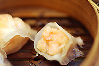 Steamed fresh shrimp dumplings that cost 20 HK$ in Tim Ho Wan the cheapest Michelin starred restaurant in the world, Hong Kong..17-Jul-11..Photo by Richard Jones......