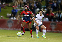 Boyds, MD - Saturday May 07, 2016: Washington Spirit forward Cheyna Williams (20) moves the ball away from Portland Thorns FC defender Meghan Klingenberg (25) during a regular season National Women's Soccer League (NWSL) match at Maureen Hendricks Field, Maryland SoccerPlex. Washington Spirit tied the Portland Thorns 0-0.