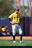 Michigan Wolverines assistant head coach Nick Schnabel (23) during a game against Army West Point on February 17, 2018 at Tradition Field in St. Lucie, Florida.  Army defeated Michigan 4-3.  (Mike Janes/Four Seam Images)