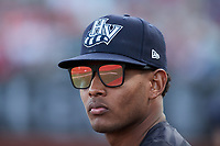 Hudson Valley Renegades pitcher Jhony Brito (34) during the game against the Aberdeen IronBirds at Leidos Field at Ripken Stadium on July 23, 2021, in Aberdeen, MD. (Brian Westerholt/Four Seam Images)